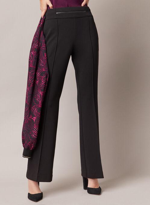 Pantalon évasé à détail zip, Noir