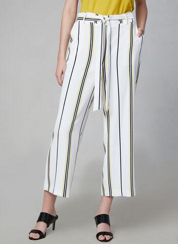 Jupe-culotte à rayures contrastantes, Blanc, hi-res,  Canada, rayé, contraste, jambe large, ceintré, lien à nouer, boucle, printemps été 2019