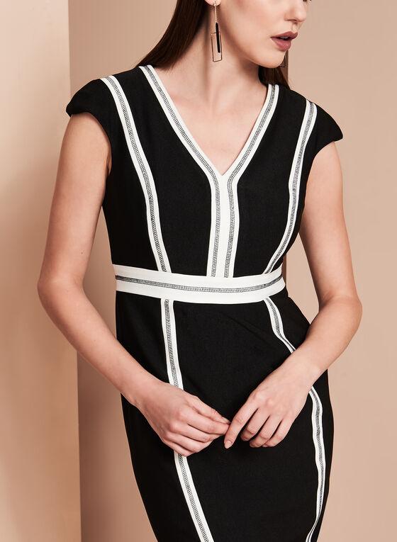 Jax Contrast Crepe V-Neck Dress, Black, hi-res
