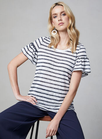 Pure Essence - Stripe Print Ruffle Top, Blue, hi-res