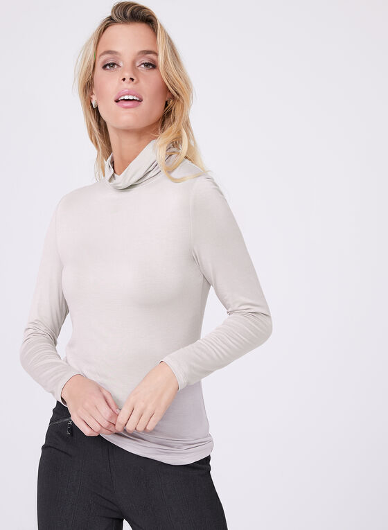 Vex -  Cotton Blend Funnel Neck Top, Grey, hi-res