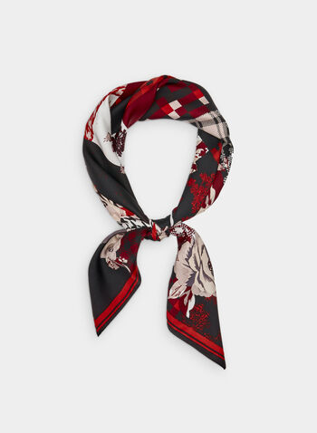 Checkered Silk Scarf, Black, hi-res,  silk, houndstooth, plaid, rose print, fall 2019, winter 2019