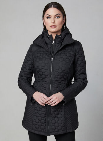 Chillax - Lightweight Quilted Coat, Black, hi-res,  spring 2019, removable hood, bib, spring 2019