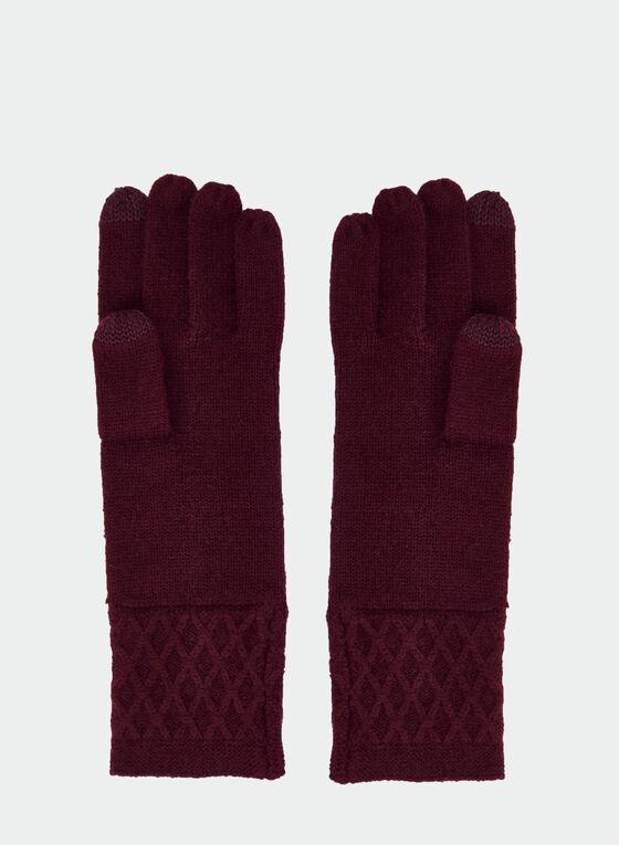 Gants en tricot avec doigts tactiles, Violet