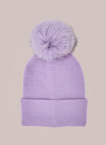 Bonnet côtelé à large pompon , Violet,  automne hiver 2020, cadeau, fêtes, fêtes 2020, tuque, bonnet, tricot, torsades, pompon, fausse fourrure