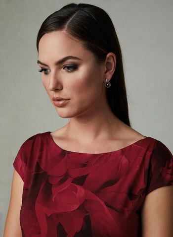Floral Print Cap Sleeve Blouse, Red, hi-res