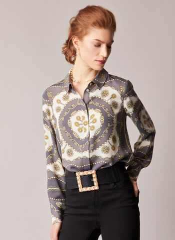 Chain Print Long Sleeve Blouse, Grey,  fall winter 2020, blouse, chain print, crepe, long sleeve, button front, comfort, stretch, top