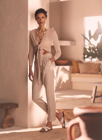 Linen Blend Straight Leg Pants, Off White,  pants, straight leg, linen, pockets, tapered, spring summer 2020