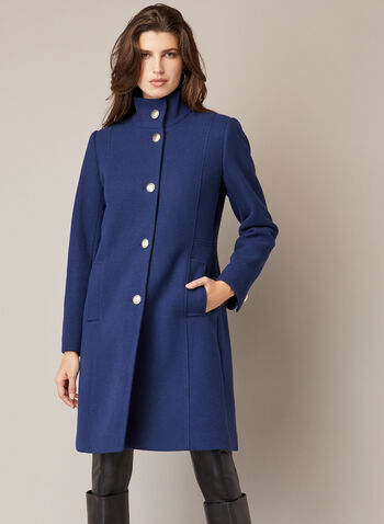 High Collar Wool Blend Coat, Blue,  coat, wool, button front, high collar, pockets, fall winter 2020