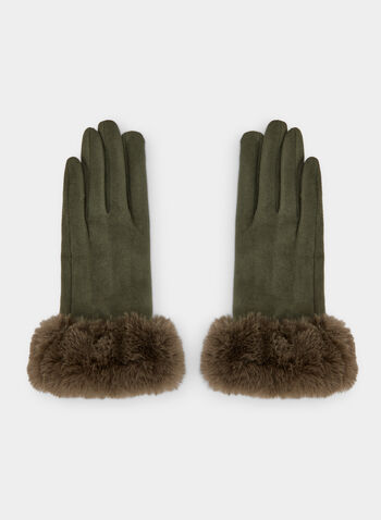 Faux Suede Gloves , Green,  gloves, faux suede gloves, faux suede, faux fur, faux fur gloves, winter 2019, fall 2019