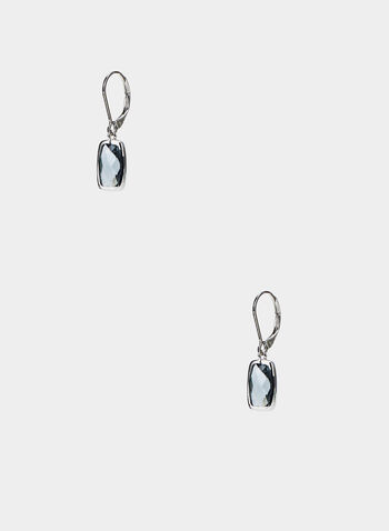 Rectangular Dangle Earrings, Grey,  earrings, rectangular stone, dangle, fall 2019