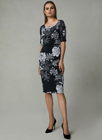 Adrianna Papell - Floral Print Jersey Dress, Black, hi-res