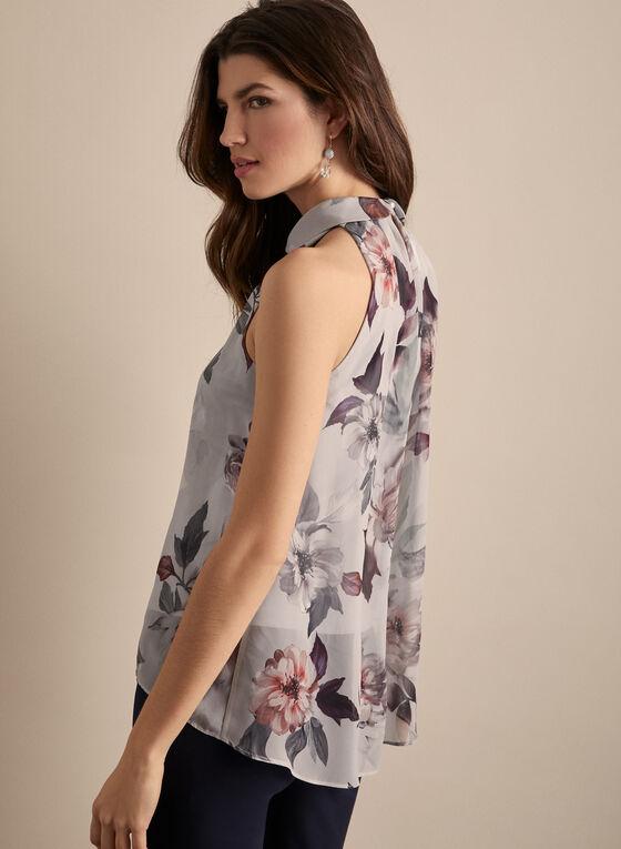 Joseph Ribkoff - Sleeveless Floral Print Blouse, Grey