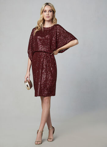 Marina - Sequin Dress, Red,  Marina, dress, cocktail dress, sequin, kimono sleeves, blouson, fall 2019, winter 2019