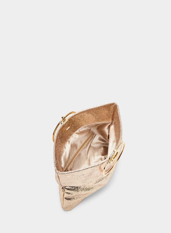 Ring Handle Metallic Clutch, Gold, hi-res