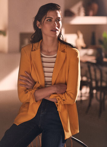Joseph Ribkoff - Knot Detail Blazer, Yellow,  jacket, blazer, notch collar, notched, knot, detail, Joseph Ribkoff, Frank Lyman, spring summer 2021, made in Canada, tailored, 3/4 sleeve, stitching, shoulder pad
