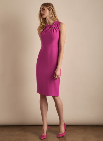 Donna Ricco - Sleeveless Twisted Top Dress, Pink,  dress, cocktail dress, sleeveless, sleeveless dress, twist, slits, spring 2020, summer 2020