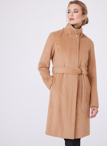 Ellen Tracy - Belted Wool Blend Coat, Brown, hi-res