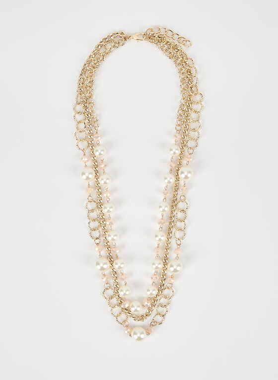 3-Row Pearl Detail Necklace, Off White, hi-res