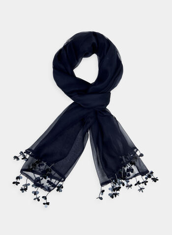 Foulard léger pailleté à franges, Bleu, hi-res,  foulard léger, pailleté, franges, printemps 2019