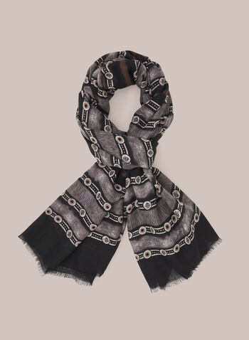 Printed Scarf With Hem Fringe, Grey,  Fall winter 2020, fringe, buttons, stripes,