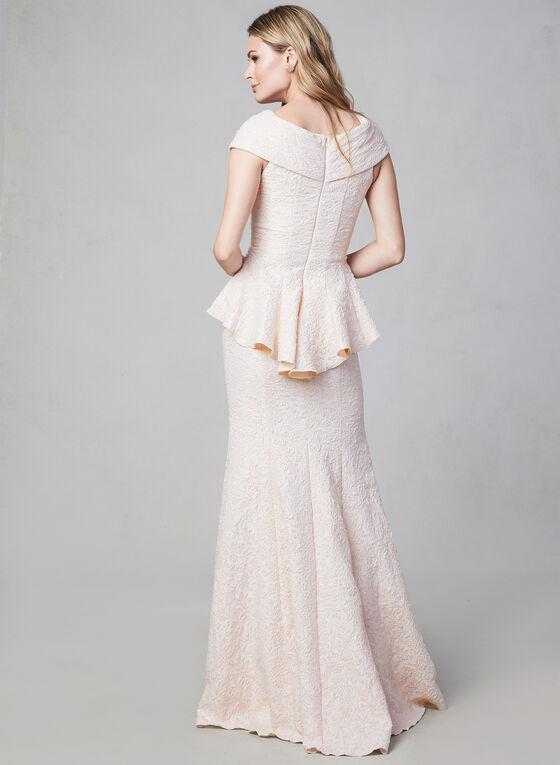 Terani Couture - Robe sirène à corsage péplum, Rose, hi-res