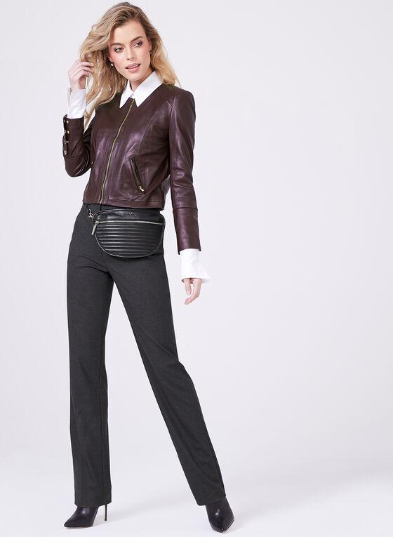 Genuine Leather Zipper Trim Jacket, Red, hi-res