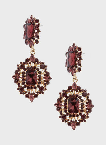 Tiered Facetted Crystal Drop Earrings, Red, hi-res