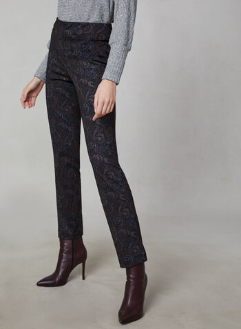 Pantalon taille pull-on à imprimé cachemire, Noir,  jambe étroite, taille pull-on, à enfiler, élastique, extensible, automne hiver 2019, fait au Canada