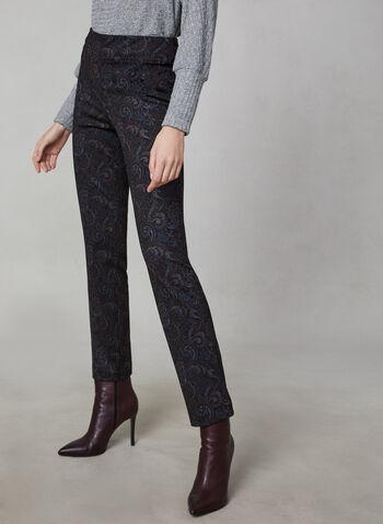 Paisley Print Ponte de Roma Pants, Black, hi-res,  Canada, pants, slim leg, Ponte de Roma, paisley, fall 2019, winter 2019