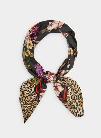 Floral Print Scarf, Black, hi-res,  leopard print, square scarf, fall 2019, winter 2019