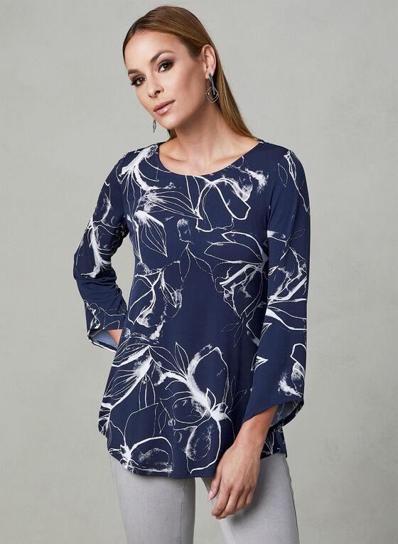 Haut en jersey à imprimé floral, Bleu, hi-res