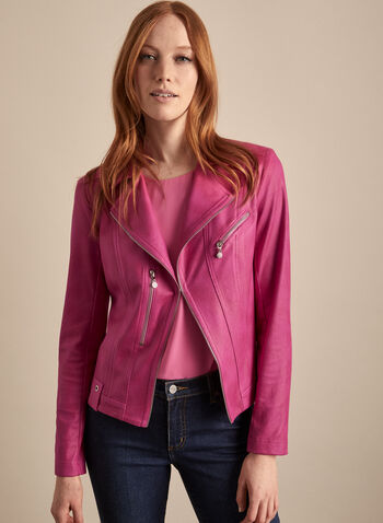 Vex - Zipper Detail Faux Leather Jacket, Pink,  jacket, faux leather, zipper, notch collar, long sleeve, shoulder pads, spring summer 2020