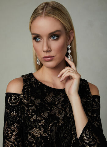 BA Nites - Cold Shoulder Lace Dress, Black, hi-res