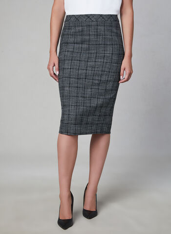 Plaid Print Pencil Skirt, Grey, hi-res,  fully lined, midi, plaid, fall 2019, winter 2019