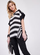 Stripe Print Asymmetric Top, Black, hi-res