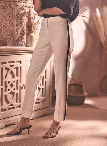 Pantalon étroit à bandes contrastantes, Blanc cassé,  pantalon, étroit, bandes contrastantes, attache, pince, longueur cheville, printemps été 2020