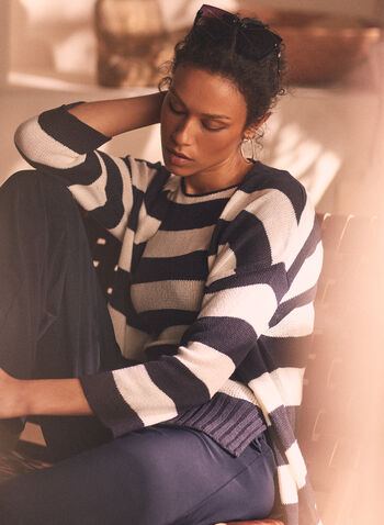 Stripe Print Open Front Cardigan, Blue,  cardigan, open front, striped, 3/4 sleeves, knit, spring summer 2020