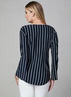Frank Lyman - Stripe Print Tie Detail Top, Blue, hi-res