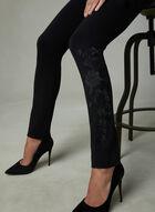 Pantalon à jambe étroite et broderies florales, Noir, hi-res