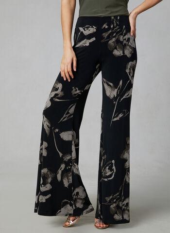 Joseph Ribkoff - Pantalon fleuri à jambe large, Noir, hi-res