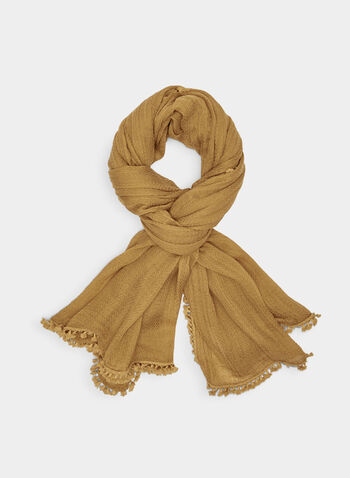 Textured Tassel Scarf, Yellow, hi-res,