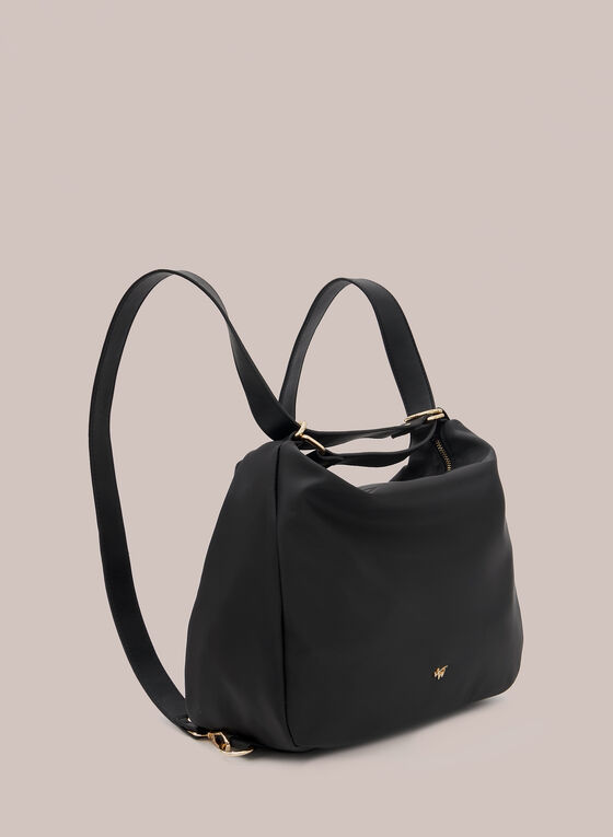 Convertible Faux Leather Tote Bag, Black