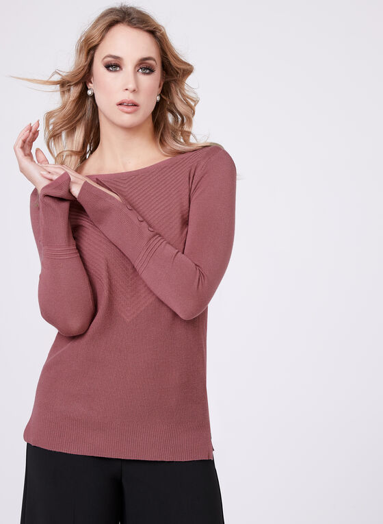 Boat Neck Chevron Knit Sweater, Pink, hi-res