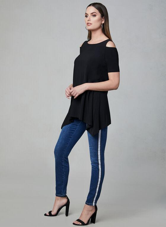 Haut en jersey à épaules ajourées, Noir, hi-res