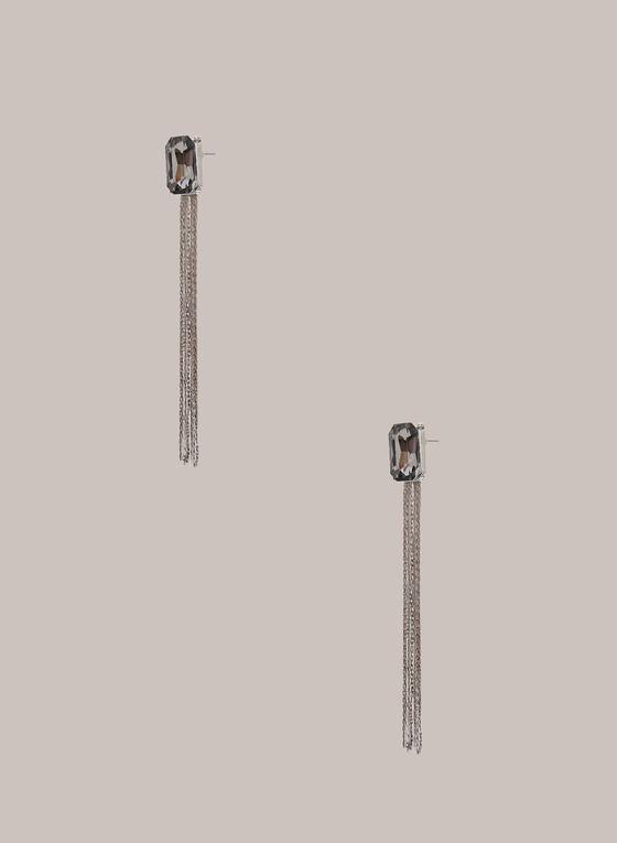 Boucles d'oreilles longues à pierres, Argent