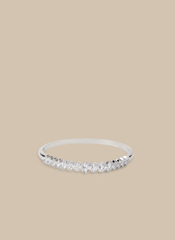 Crystal Bangle Bracelet, Silver,  bracelet, bangle, metallic, crystals, crystal bracelet, spring 2020, summer 2020
