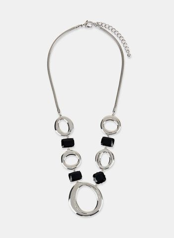 Hoop & Crystal Necklace, Black, hi-res
