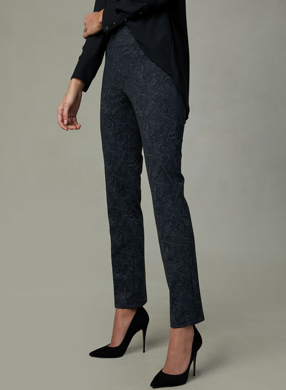 Pantalon pull-on à motif tapisserie, Bleu