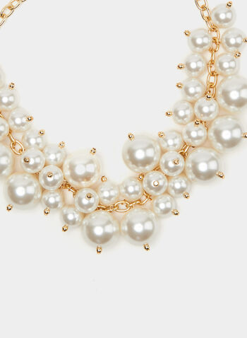 Pearl & Chain Bib Necklace, Off White, hi-res